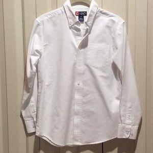 Chaps EUC Boys Button Down White Cotton Shirt